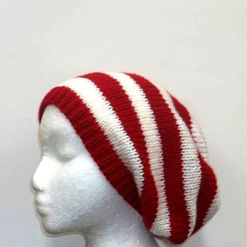 Slouchy beanie red white stripe, large size    5168