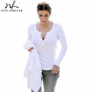 Nice-Forever new Fashion hot white buttons casual cotton Tees Women Autumn Long Sleeve Ladies Bodycon Tunic Brief Chic Tops b30