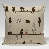 cute cat assamble Square Pillow Case Custom Zippered Pillow Case one side and two side