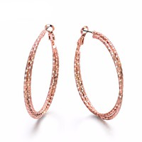 Double Circles Round Hoop Earrings Rose Gold & Silver Color