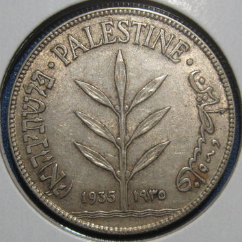 1935 Palestine Under British Rule Collectible Silver Coin 100 Mils Pre WW II Era Middle Eastern Silver Historical Coin English Hebrew Arabic