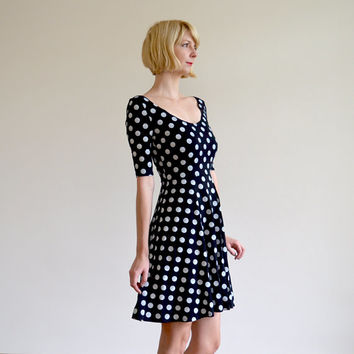 Bella Spotty Scoop Neck Skater Dress with Crossover Back Detail