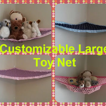 Customized Large Toy Net, You pick the colors (Black, pink, yellow, navy, blue, light, dark, red, brown)