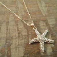 Large Gold Rhinestone Starfish Necklace | Candy's Cottage