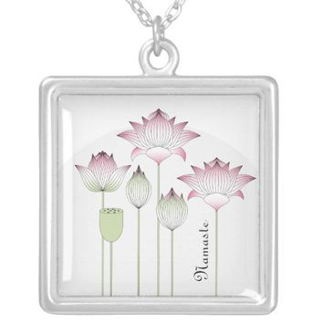 Pink Lotus Flower Elegant Chic Namaste Silver Plated Necklace