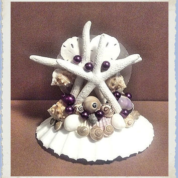 Coastal Wedding Cake Topper & Centerpiece #9 - Handmade Sea Shell Decor