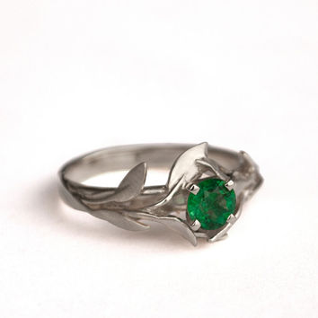 Leaves Engagement Ring No.4 - 18K White Gold and Emerald engagement ring, engagement ring, leaf ring, antique, May Birthstone, vintage