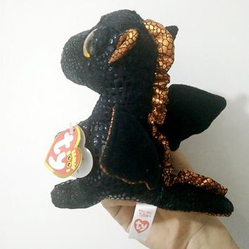 "TY Beanie Boos 6"" 15cm Merlin the Dragon Plush Regular Stuffed Animal Collection Soft Doll Toy with Heart Tags"