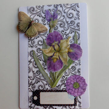Flowers and Butterflies Blank Handmade Personalized Greeting Card