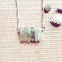 Minimal Gemstone Necklace- Green Gemstone Necklace Birthstone Necklace Delicate Summer Time Gift July Trending Birthstone FREE SHIPPING