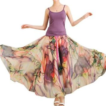 Izacu Flocc (TM) Womens Blending Chiffon Retro Long Maxi Skirt Vintage Dress
