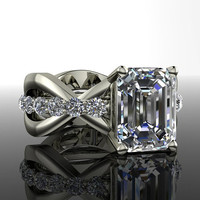 Forever Brilliant Moissanite Unique Engagement Ring Emerald Cut 3.57 CTW