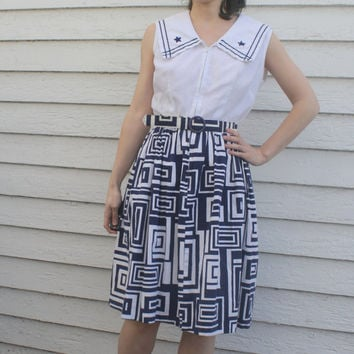 Nautical Dress Sailor White Blue Cotton Striped S 60s Mr Kolbert