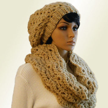 INFINITY Scarf Hood Cowl Camel Light Tan Handmade Crochet Knit  Eternity Loop Infiniti Spring Church Head Cover  Scarf