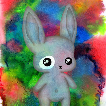 Bunny, Rabbit, Illustration, Cute, Original, art, Blue, Green, Red, Kawaii, Kitsch, Vibrant, Kids room, Patch, Inked, Forest animals