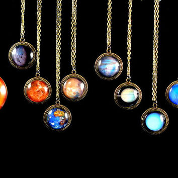 Planet Necklaces - Solar System Pendants - Real NASA Images