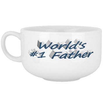 World's #1 Father Soup Mug, Ocean Blue Soup Mug