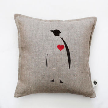 Decorative pillow cover with penguin print. Red heart on it. Penguin cushion cover. Throw pillow. Valentines day pillow gift