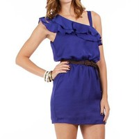 Midnight Blue Ruffle Belted Dress