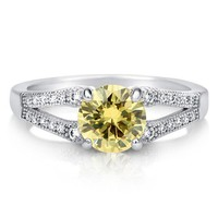 Round Canary CZ 925 Sterling Silver Split Shank Solitaire Ring 1.28 ct #r512