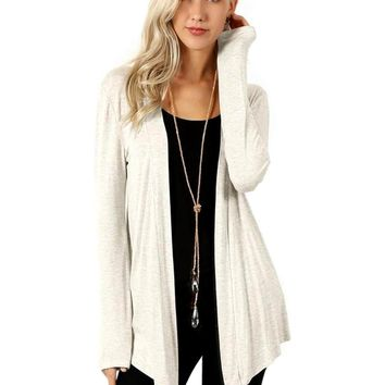 "Drapey Open Front Long Sleeved Knit Cardigan-27"", Heather Beige"