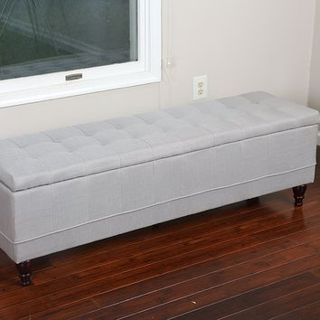 New Century® Linen Upholstered Large Ottoman Storage Bench, Gray