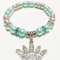 Turquoise and Gray Crown Bracelet / Five Point Crown Rhinestone Bracelet/ Rhinestone Crown Bracelet / Sorority colors / Turquoise and Silver