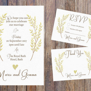 Wedding Invitation Set download, Printable Wedding Invitation Suite, Country Wedding Invitation, Chic Wedding, rustic Invite, sophisticated