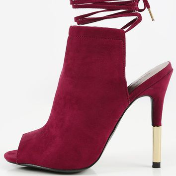 Qupid Ara-54A Lace Up Suede Booties