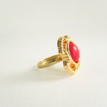 Vintage Button Ring, Gold Frame adjustable ring, statement ring,red pearl ring, bridesmaid gift, gold plated ring, spring jewelry