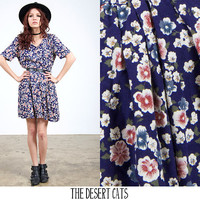 vintage 90s dress vintage 1990s navy and floral dress vintage 90s grunge floral skater dress