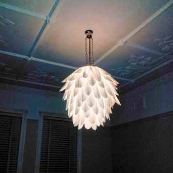 Paper feather hanging light shade - wedding lights