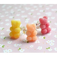 Sour Gummy Bear Ring Polymer Clay Miniature Food Jewelry