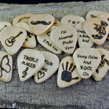 20% off for 20 Custom Engraved Wooden Guitar Picks - Bulk/Wholesale Discount Price - Set of 20 - Maple and Cherry Only