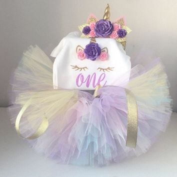 Unicorn Party Dresses For 1 Year Old Baby Girls Summer Dress Infant Toddler Kids 1st Birthday Clothes Bebes Christening Gown 12M