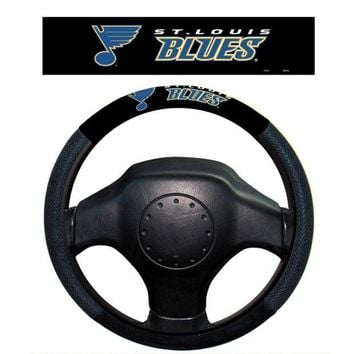 LMFON NHL St. Louis Blues Poly-Suede Steering Wheel Cover