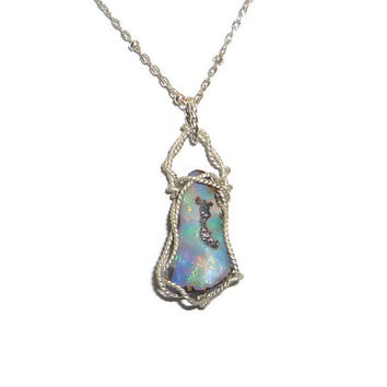 7.85ct. Natural Boulder Opal Necklace Wire Wrapped Twisted Sterling Silver .925
