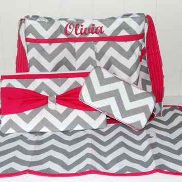 HUGE Gift Set Embroidered White and Grey Diaper Bag with Bright Pink Accents , Changing Pad, Clutch and Wipe Case