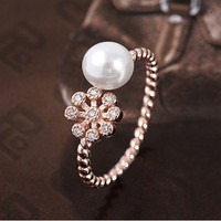 Pearl and Snowflake in Rose Gold 925 Sterling Silver Ring -  One Size