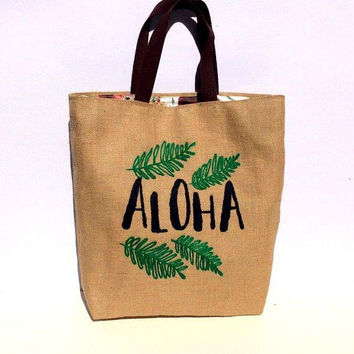 Aloha summer, Shopper tote bag, summer tote bag, hand embroidered, handmade jute bag, large, spacious, one of a kind, beach bags, boho style