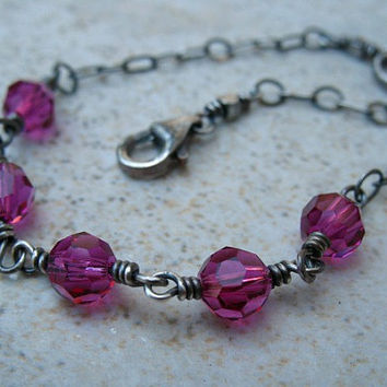 Pink Crystal Bracelet Sterling Silver Jewelry