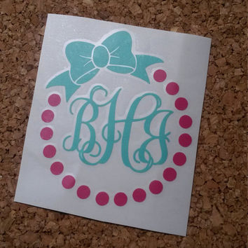 Dot and Bow Monogram | Bow Monogram | Monogram Decal | Dot monogram | Yeti Decal | Car Decal | Preppy Monogram | Laptop Monogram