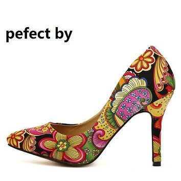 Pefect-By Women's Fashion Floral Embroidered and Solid Color High Heels Pumps Shoes