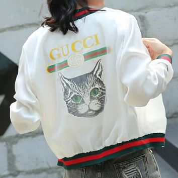 GUCCI New Trending Women Casual Back Letter Cat Head Print Long Sleeve Net Yarn Splicing Zipper Cardigan Sweatshirt Jacket Coat Windbreaker Sportswear White I13161-1