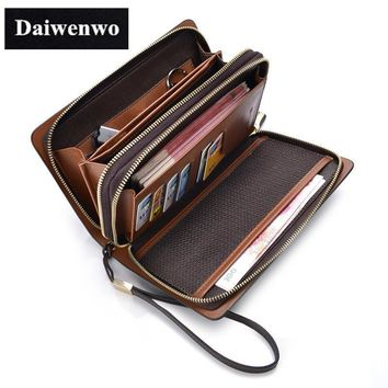 Men's Wallets Clutch Brow Luxury Large Capacity Gift Double Zipper