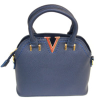 Navy Mini V Satchel Bag