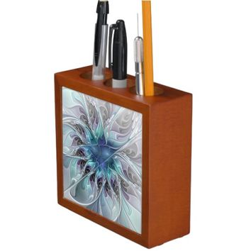 Flourish Abstract Modern Fractal Flower With Blue Pencil/Pen Holder