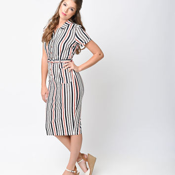 Collectif 1950s Style White Nautical Stripe Caterina Shirt Pencil Dress