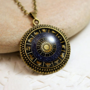 Zodiac  Necklace, Antique Bronze Pendant,Glass Cabochon Pendant With Chain