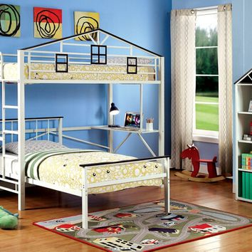 Fortress collection chocolate and white finish metal frame twin loft bunk bed set